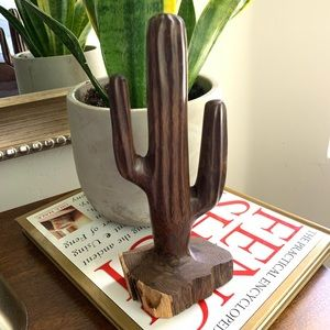 Other - Vintage Iron Wood Hand Carved Cactus